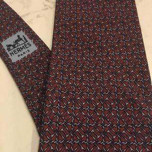 Hermès geometric silk tie
